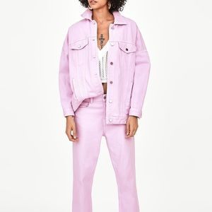 Zara mauve colorful oversize denim jacket
